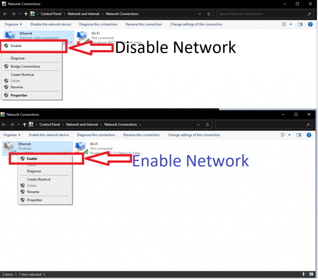 enable disable network
